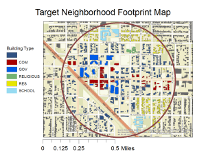Target Neighborhood Map with zoning identified